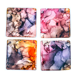 Hand Painted Resin Coated Coasters Set of 4
