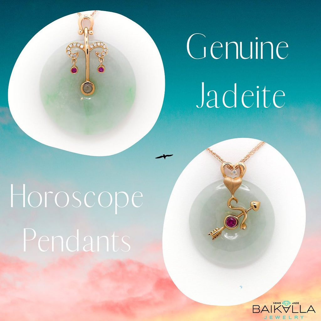 Real Jadeite Jade Horoscope Pendant Necklace with Gold Gems Diamonds