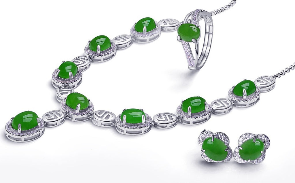 Real Nephrite Green Jade Necklace Ring & Earrings Set