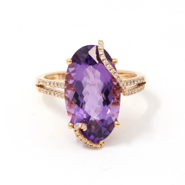 18k Rose Gold Genuine Oval Amethyst Ring with Diamonds Halo