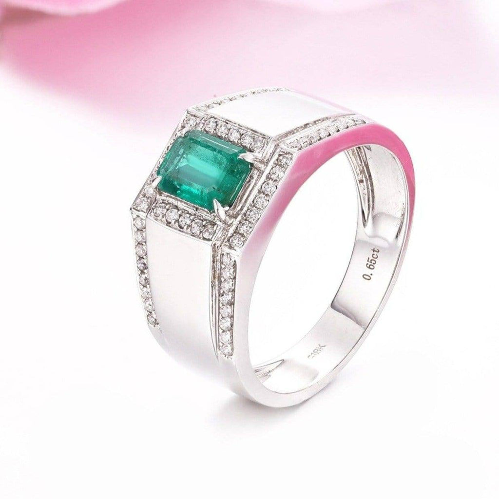18k White Gold Natural 0.65 ct Emerald Men's Halo Ring with Diamonds