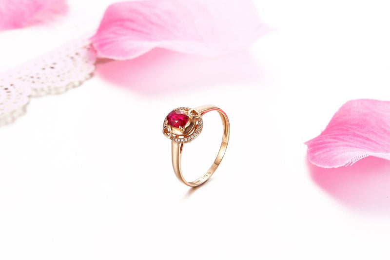 Baikalla™ 18k Rose Gold & Natural A Ruby (1/2 ct ) Ring With Diamonds