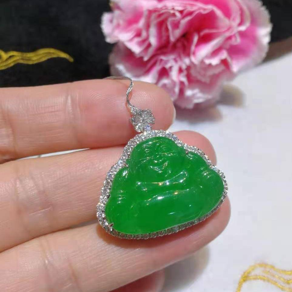 High-End Imperial Jadeite Jade Buddha Pendant Necklace #GF11
