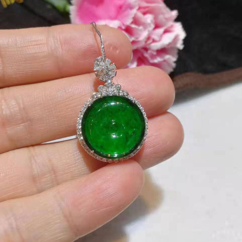 High-End Imperial Jadeite Jade KouKou Pendant Necklace #GF12