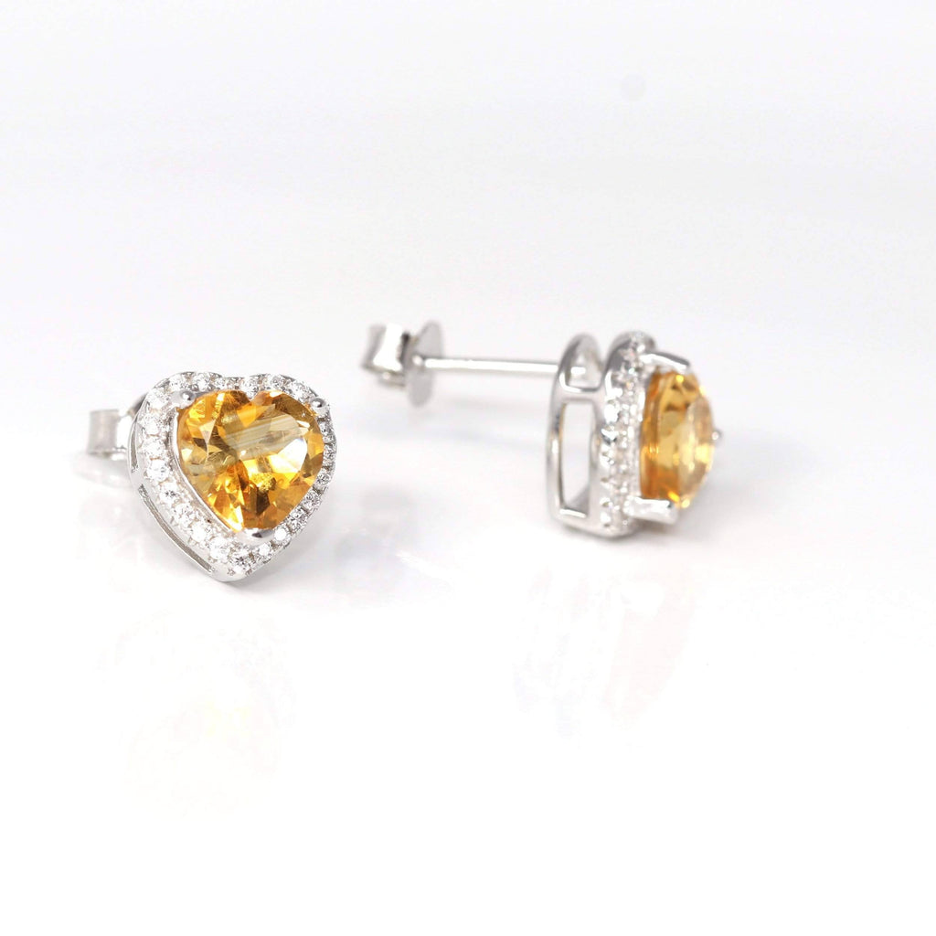 Sterling Silver Heart Shape Natural Amethyst Citrine Garnet Topaz Earrings  | Gemstone And Jade Jewelry, Nephrite Jade Jewelry | Baikalla Jewelry™, Find your Natural Gems and Jade Jewelry