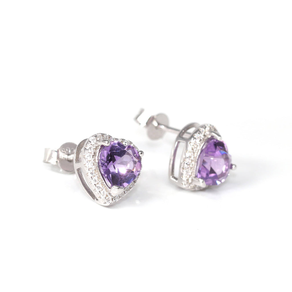 Baikalla Classic Sterling Silver Natural Amethyst Citrine Garnet Earrings With CZ