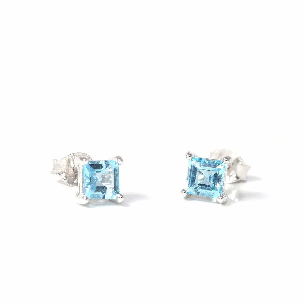 Baikalla Classic Sterling Silver Natural Swiss Blue Topaz Stud Earrings