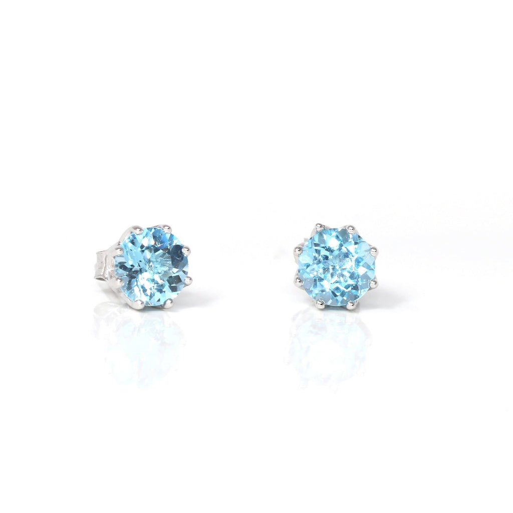 Baikalla™ Classic Sterling Silver Natural Swiss Blue Topaz Stud Earrings | Gemstone And Jade Jewelry, Nephrite Jade Jewelry | Baikalla Jewelry™, Find your Natural Gems and Jade Jewelry