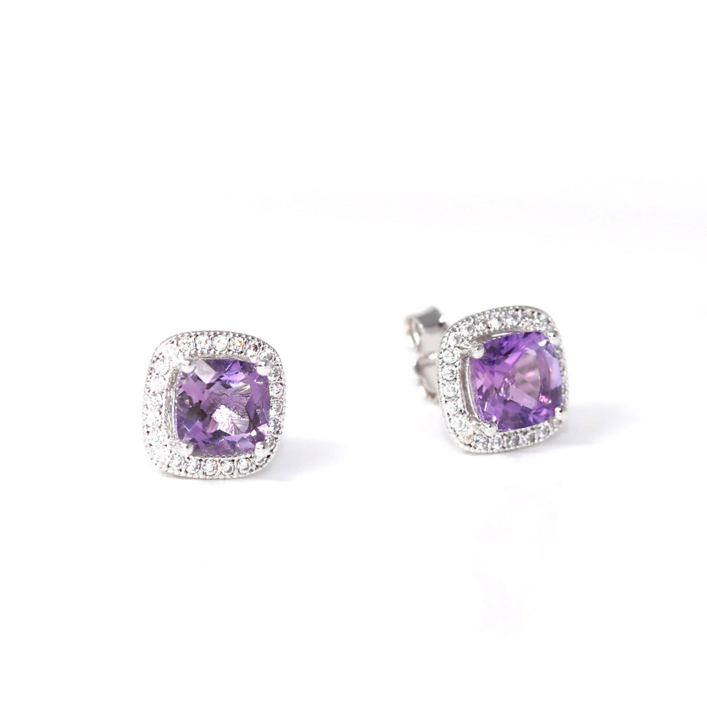 Baikalla Classic Sterling Silver Natural Amethyst Round Stud Earrings