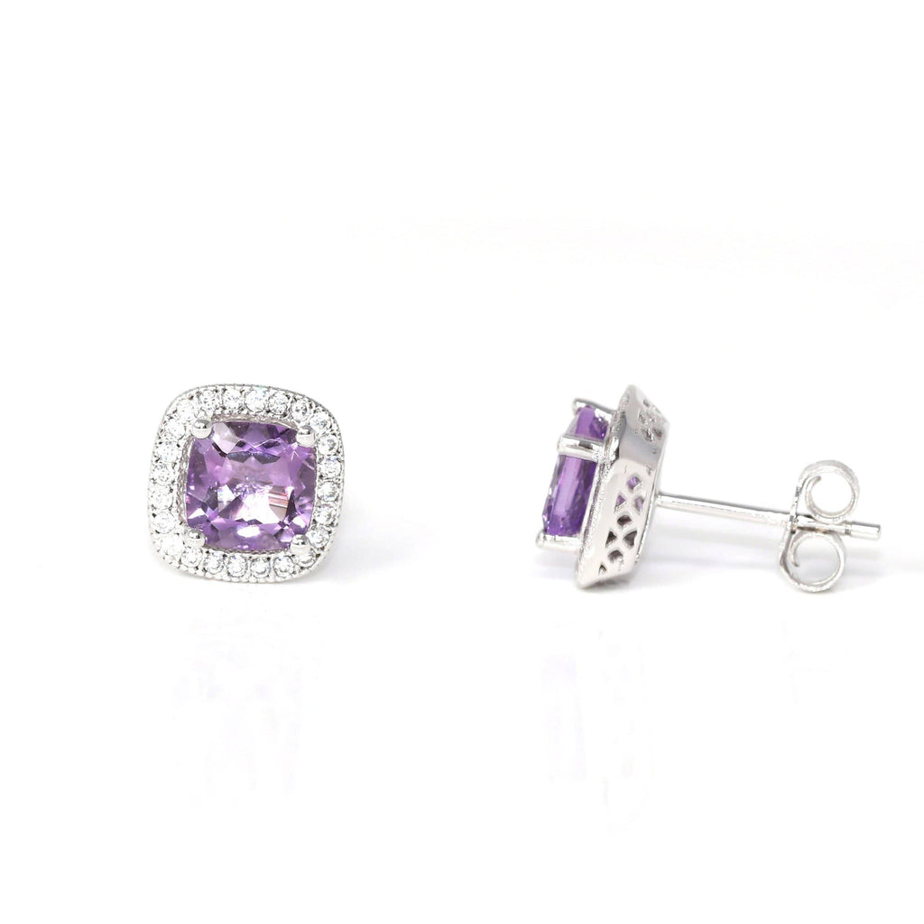 Baikalla Classic Sterling Silver Natural Amethyst Stud Earrings