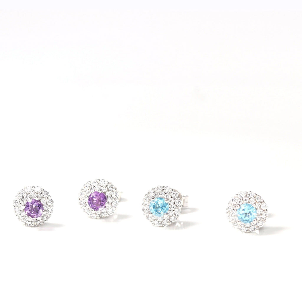 Baikalla Classic Sterling Silver Natural Amethyst Topaz Stud Earrings With CZ
