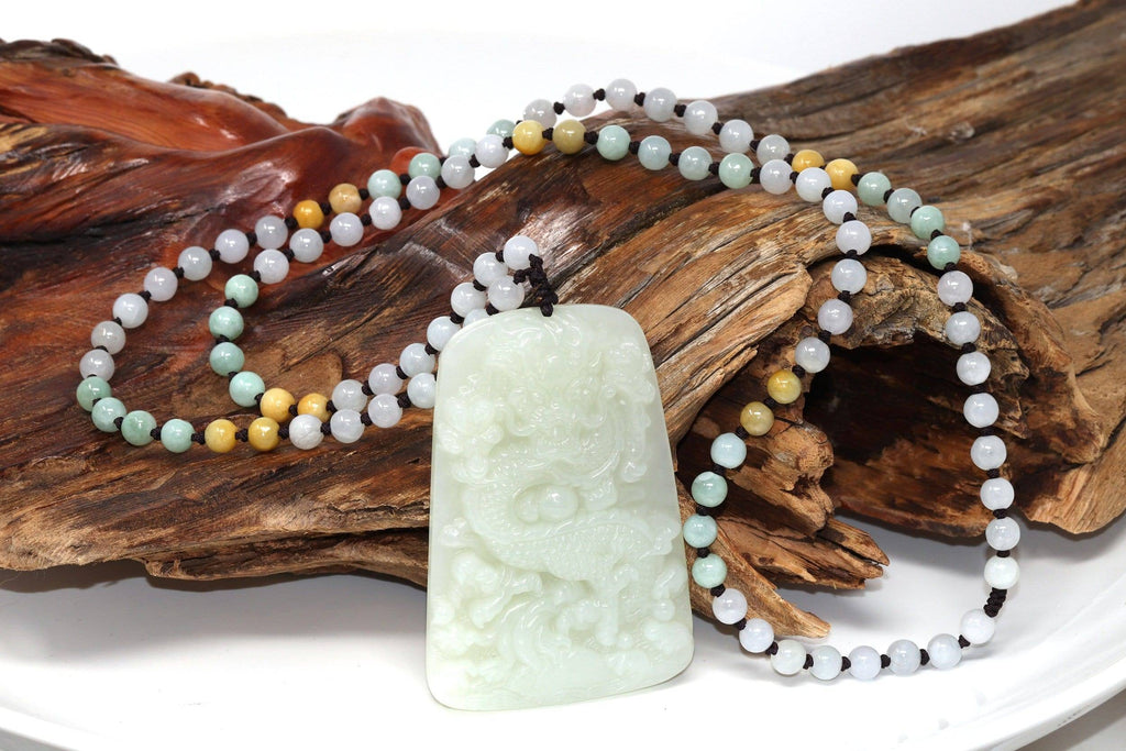 Natural White Nephrite Jade Double Dragon Pendant Necklace ( Carved Art )