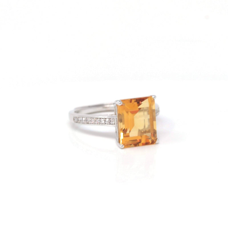 Baikalla™ Sterling Silver Emerald Cut Citrine Ring | Gemstone And Jade Jewelry, Nephrite Jade Jewelry | Baikalla Jewelry™, Find your Natural Gems and Jade Jewelry