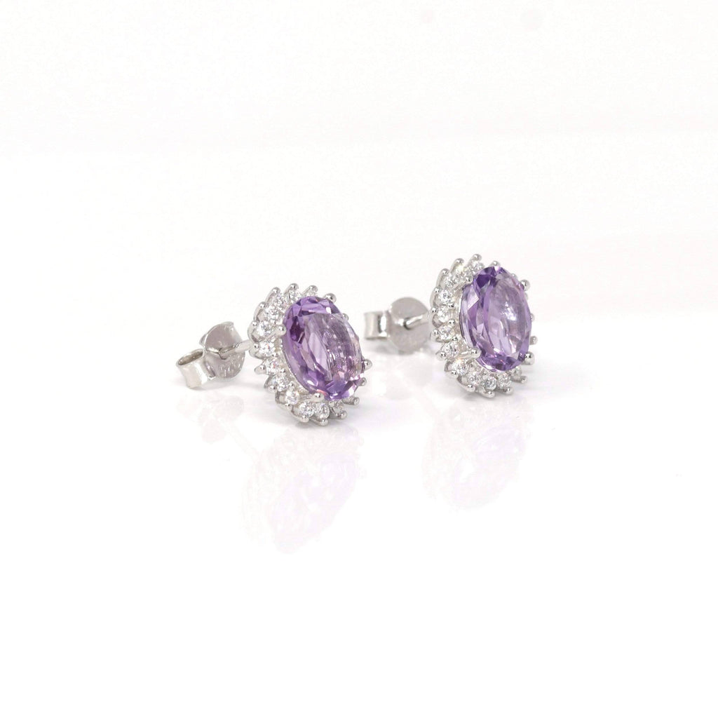 Sterling Silver Natural Amethyst Topaz Stud Earrings | Gemstone And Jade Jewelry, Nephrite Jade Jewelry | Baikalla Jewelry™, Find your Natural Gems and Jade Jewelry