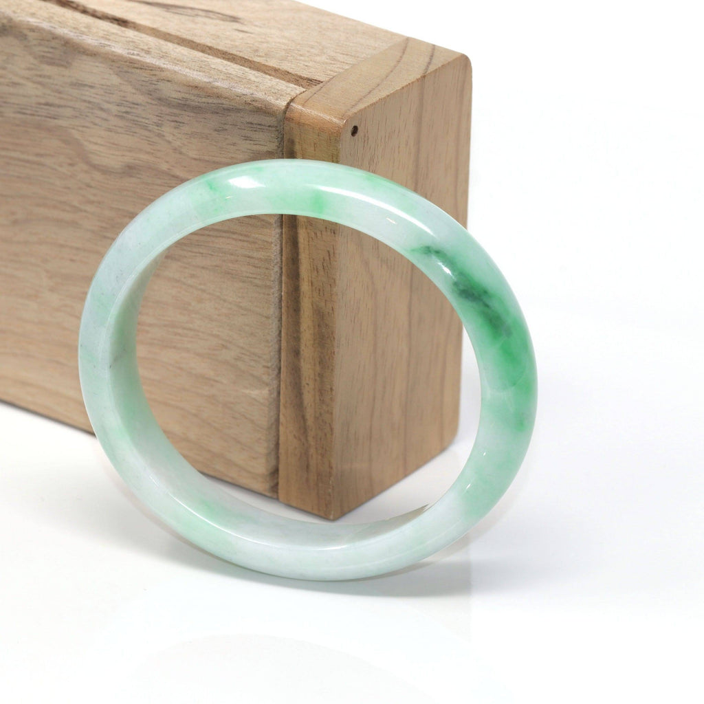 Genuine Burmese Jadeite Jade Oval Bangle Bracelet ( 56.75 mm )
