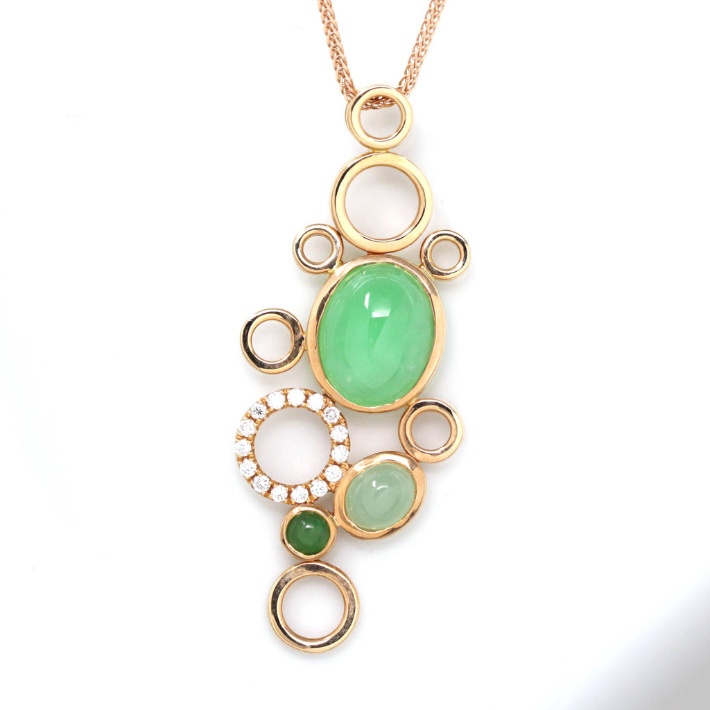 18k Rose Gold Jadeite Jade Diamond Bubble Pendant Necklace