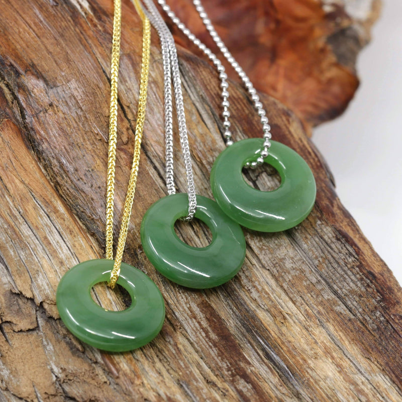 Genuine HeTian Nephrite Green Jade Lucky KouKou Circle Pendant Necklace