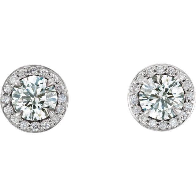 14K White 5 mm Round Forever One™ Moissanite & 1/8 CTW Diamond Earrings