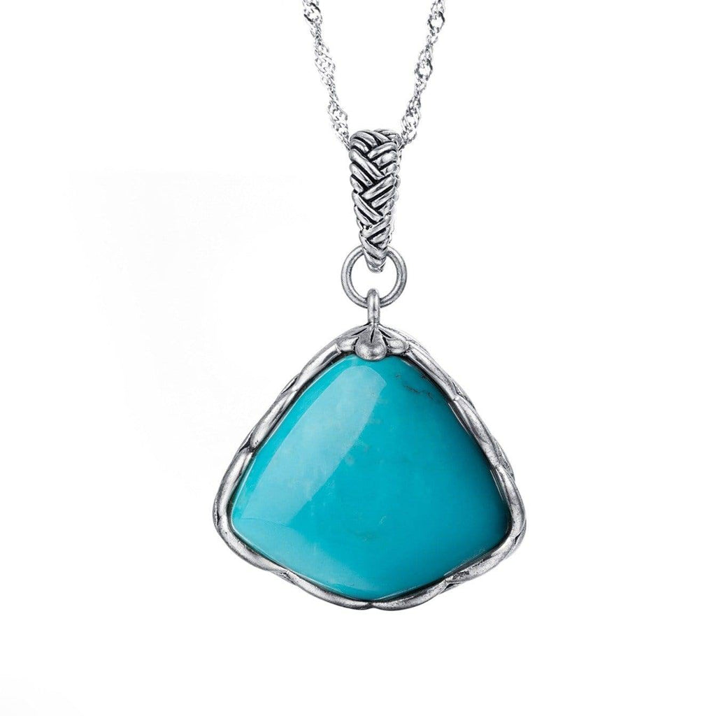 Sterling Silver Genuine Persian Blue Arizona Turquoise Pendant Necklace