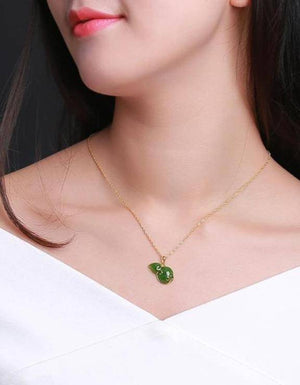 High Quality Sterling Silver Genuine Nephrite Jade Jewelry – Lucky Bottle Gourd Green Pendant Necklace