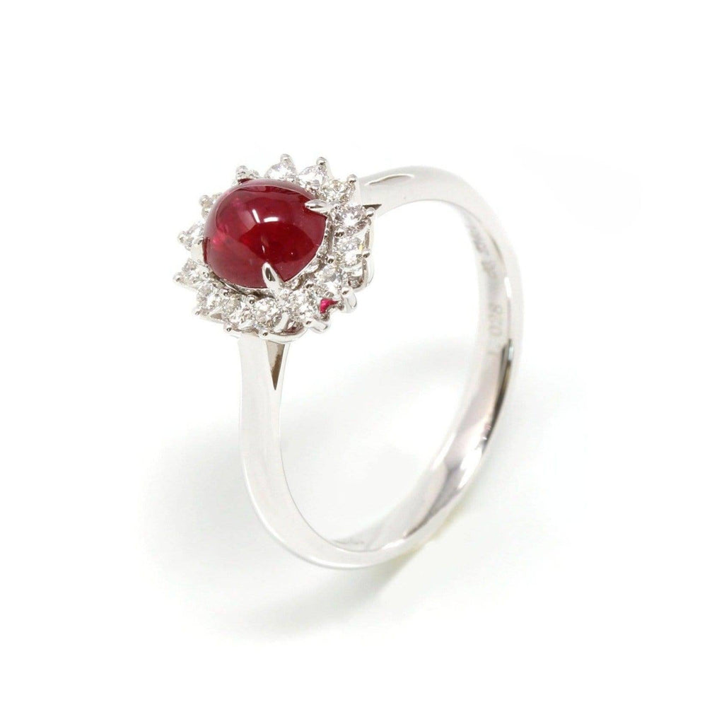 18k White Gold Natural Oval Ruby Diamond Anniversary Ring
