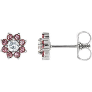 Sterling Silver Baby Pink Topaz & 1/8 CTW Diamond Earrings