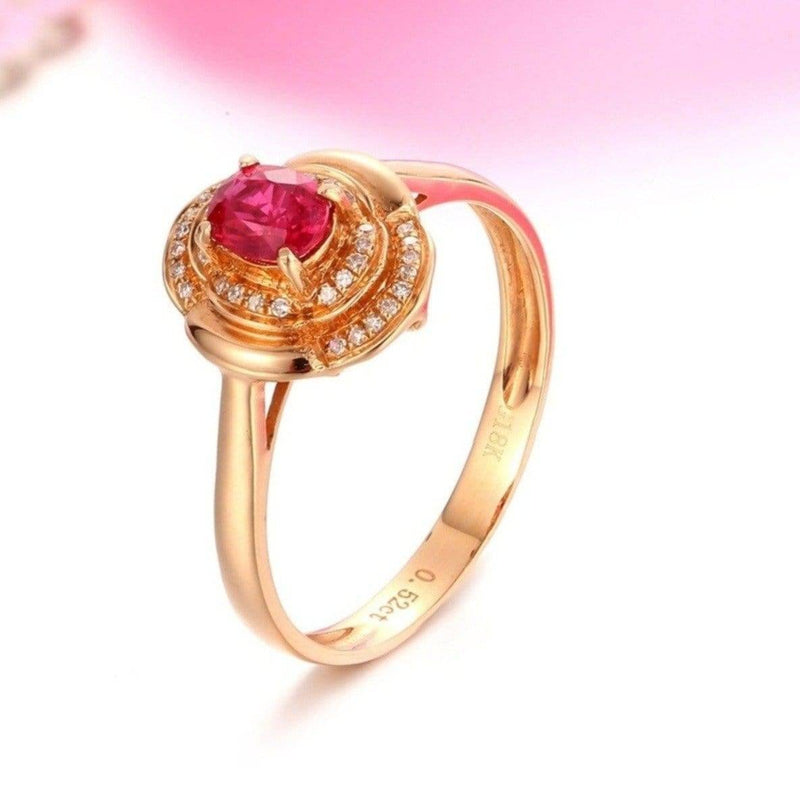 18k Rose Gold & Natural A Ruby (1/2 ct ) Ring With Diamonds