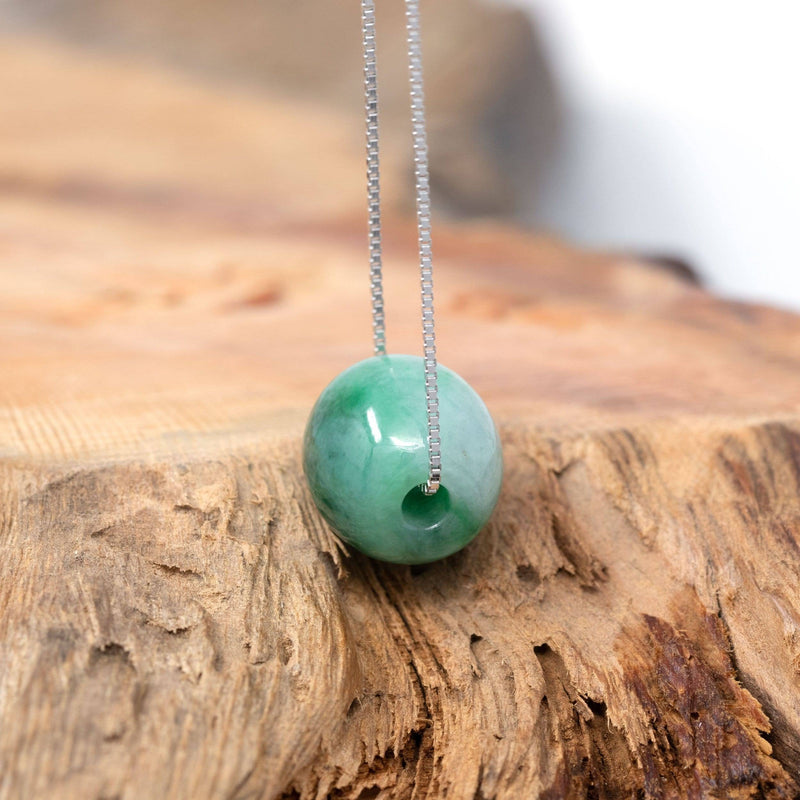 "Baikalla™ ""Good Luck Button"" Necklace Real Blue-Green Jade Lucky TongTong Pendant Necklace"