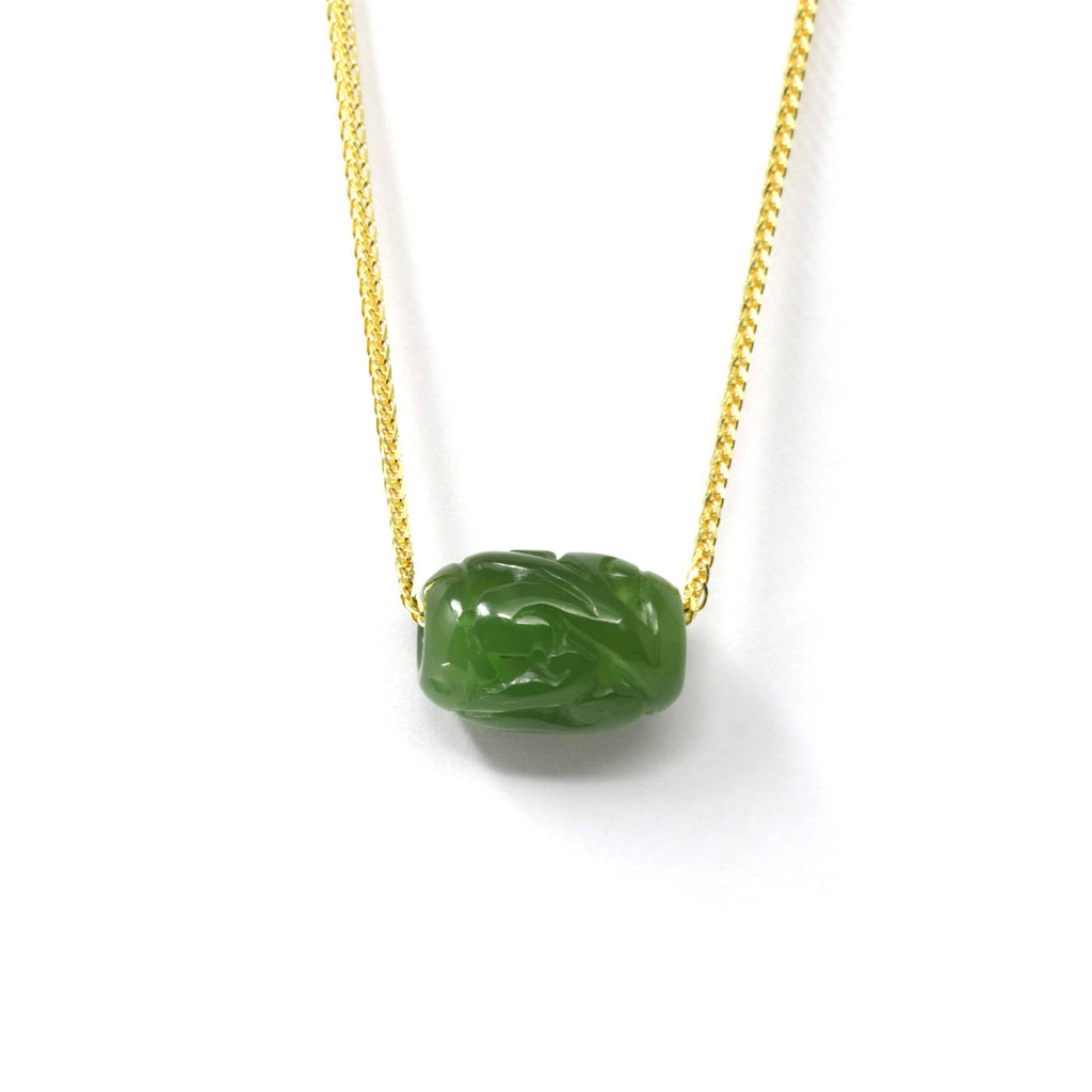 Nephrite Green Jade Lucky LuLuTong Bead Pendant Necklace