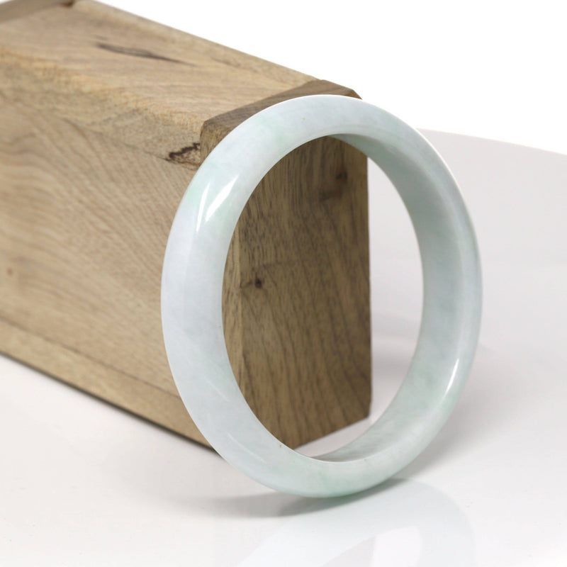 "Baikalla™ ""Classic Bangle"" Genuine Burmese Green Jadeite Jade Bangle Bracelet (59.9mm) #520"