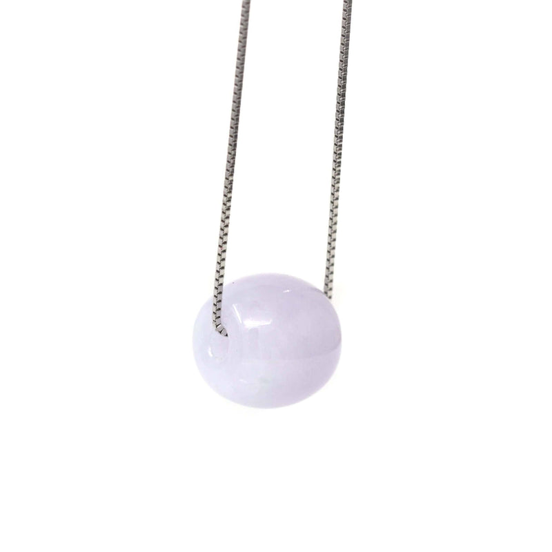 "Baikalla™ ""Good Luck Button"" Necklace Real Lavender Jade Lucky TongTong Pendant Necklace"
