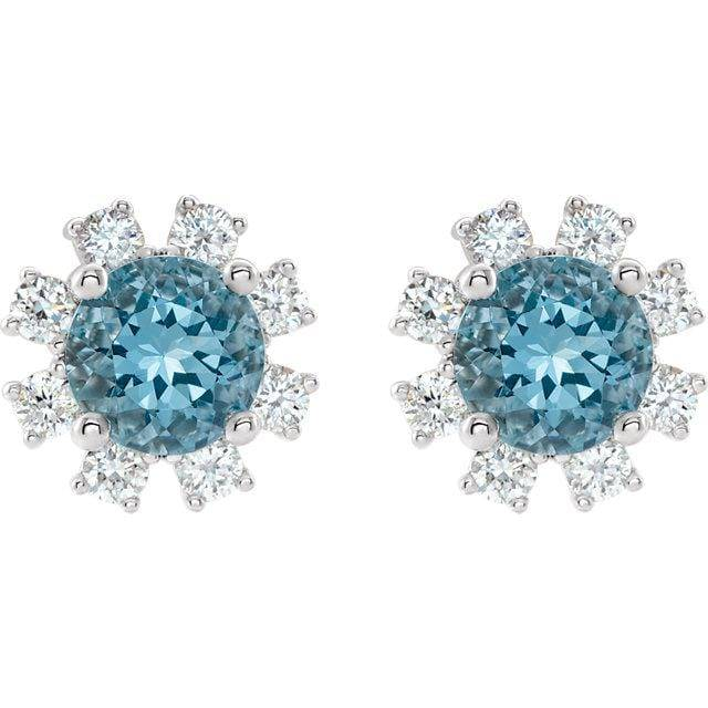 14K White Gold Genuine Blue Zircon and 1/2 CTW Diamond Earrings