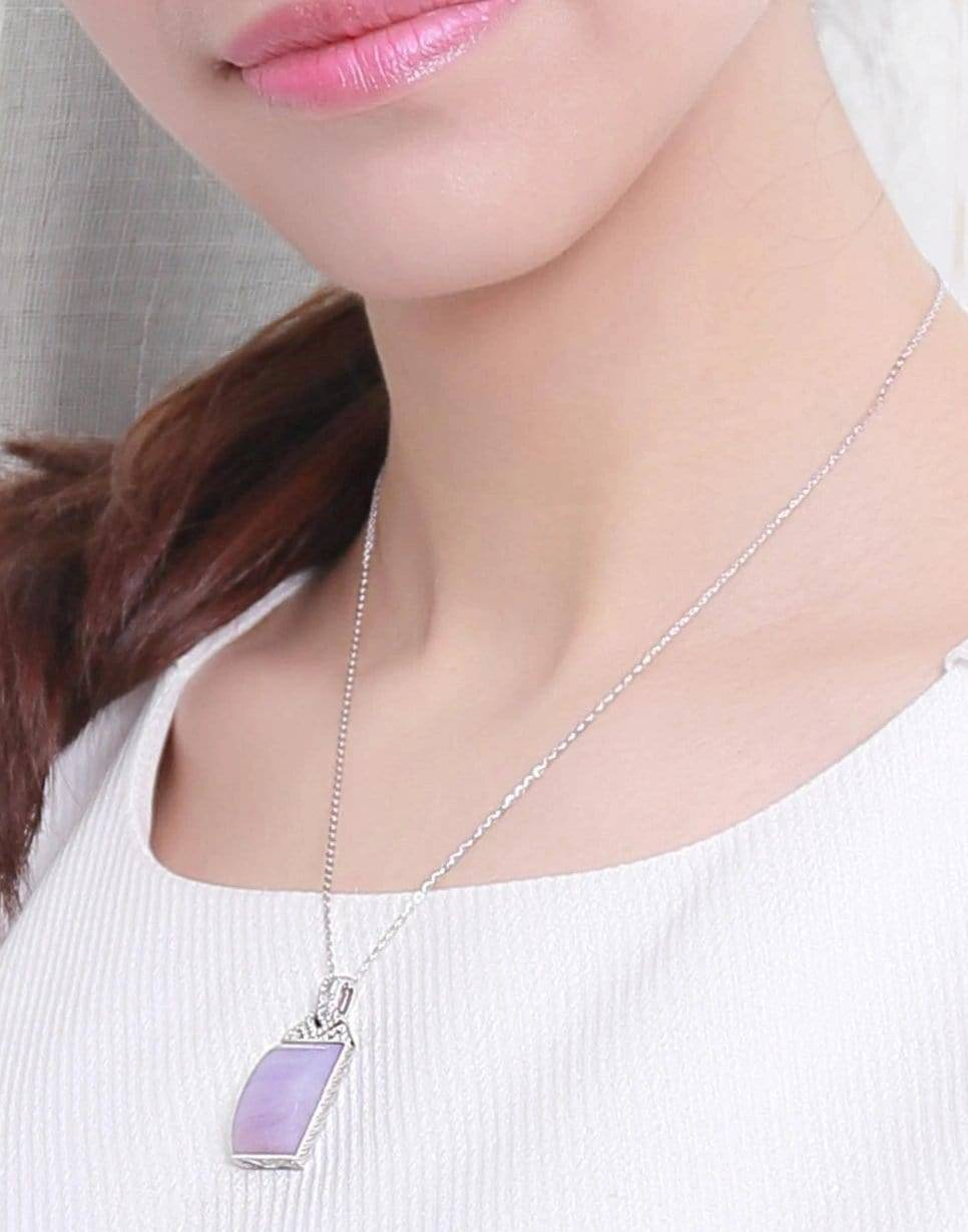 18k White Gold Purple Jadeite Necklace