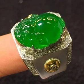 18k Gold Genuine Jadeite & VS1 Diamonds Ring (High Quality)