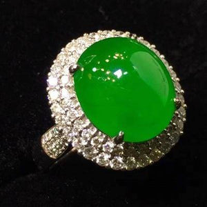 18k Gold Genuine Jadeite & VVS1 Diamonds Ring
