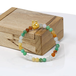 Genuine High-quality Jade Jadeite Bracelet Bangle with 24k Yellow Gold Snail Charm Colorful  #427