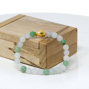 Genuine High-quality Jade Jadeite Bracelet Bangle with 24k Yellow Gold Submarine Charm #404