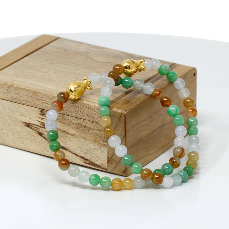 Genuine High-quality Jade Jadeite Bracelet Bangle with 24k Yellow Gold Submarine Charm Colorful  #403