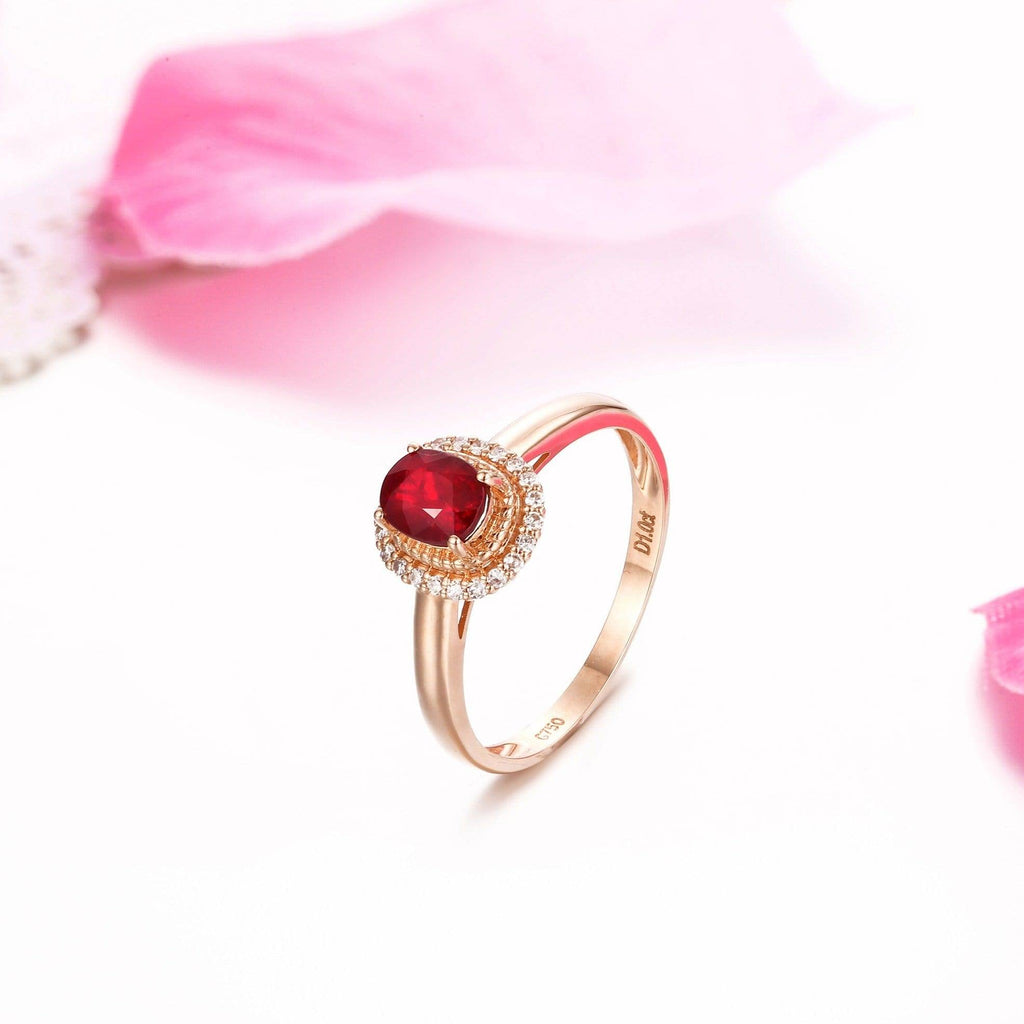 18k Rose Gold & Natural Ruby Ring (0.52 ct ) with Diamonds