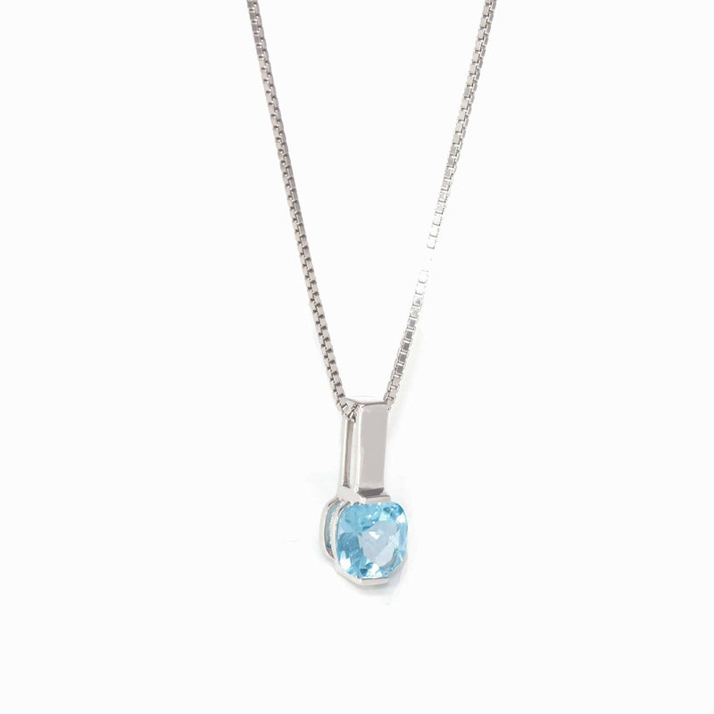 Baikalla™ 14k White Gold Natural Topaz Prong Set Necklace