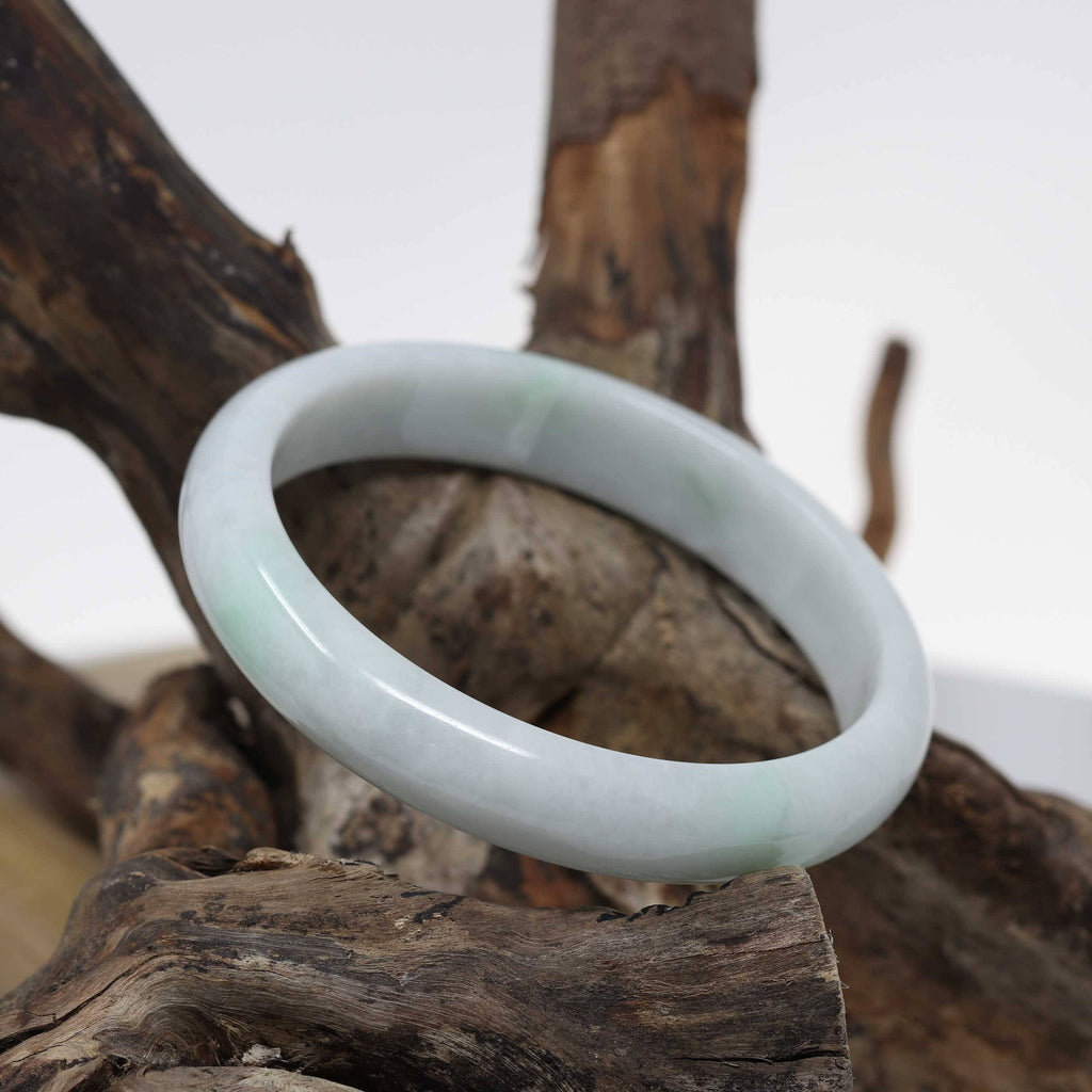 "Baikalla™ ""Classic Bangle"" Genuine Burmese Green Jadeite Jade Bangle Bracelet ( 62.5 mm) #513"