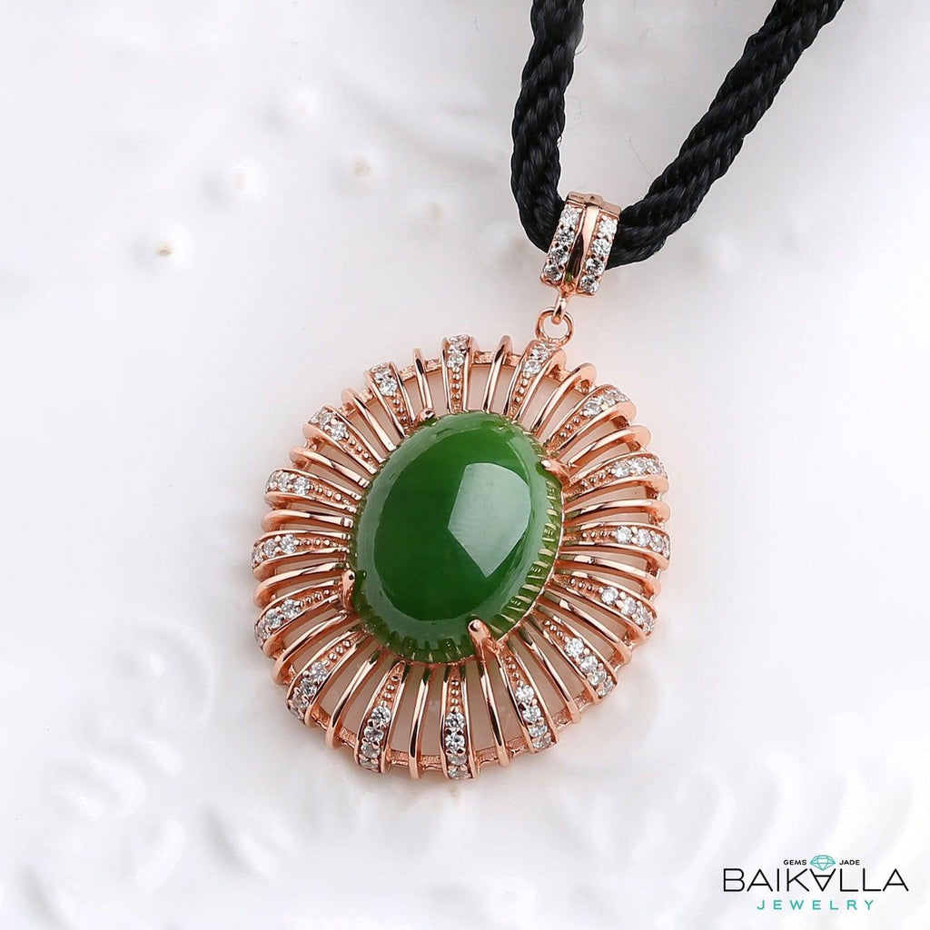 Sterling Silver Genuine Nephrite Green Jade Pendant with Rose Gold Plated