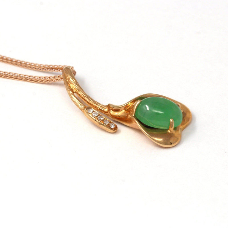 18K Rose Gold Genuine Imperial Jadeite Flower Pendant with Diamonds Baikalla Jewelry