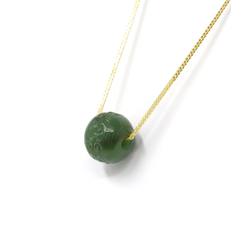 Nephrite Green Jade Bead Pendant Necklace With Lucky Pattern
