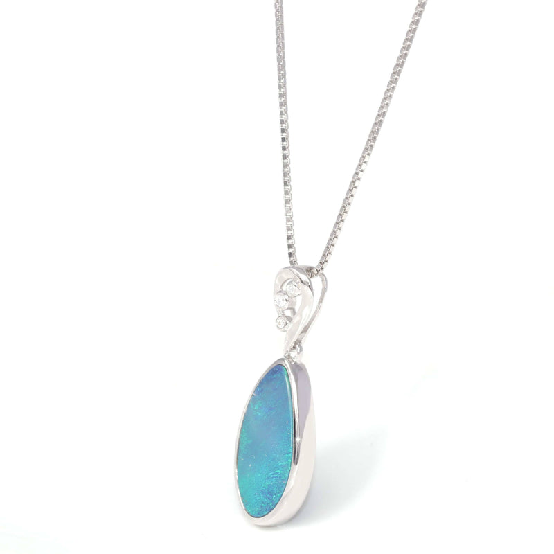 Baikalla™ Sterling Silver Freeform Australian Blue Opal Bezel Set Necklace