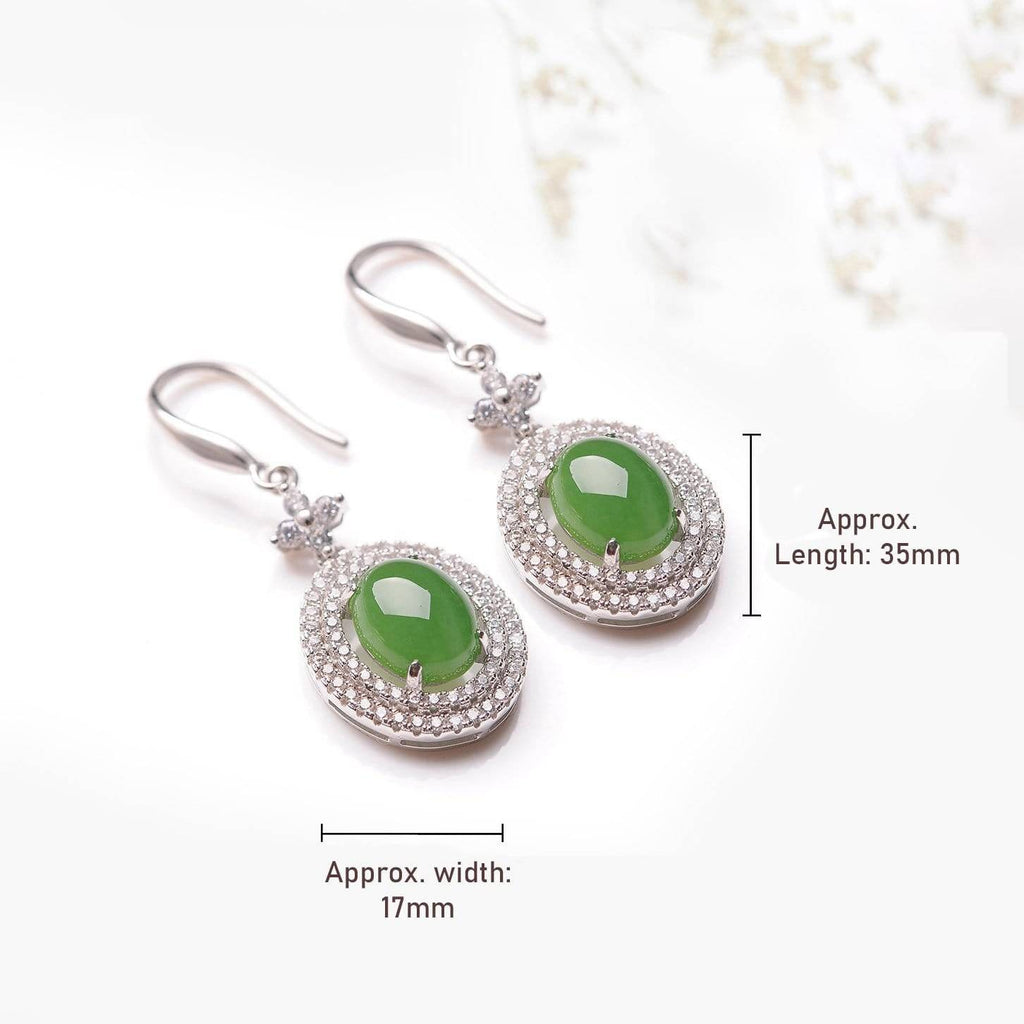 "Baikalla™ ""Classic Double Halo"" Sterling Silver Genuine Nephrite Green Jade Dangle Earrings"