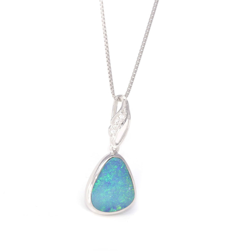Baikalla™ Sterling Silver Freeform Australian Light Blue Natural Opal Bezel Set Necklace