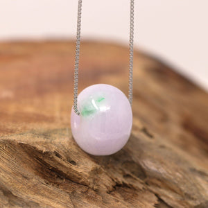 "Baikalla™ ""Good Luck Button"" Necklace Real Lavender Jade Lucky KouKou Pendant Necklace"