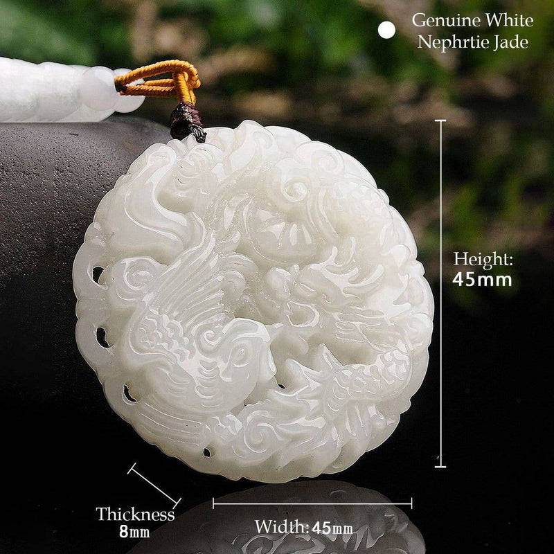 Genuine Nephrite White Jade Dragon & Phoenix Pendant Necklace