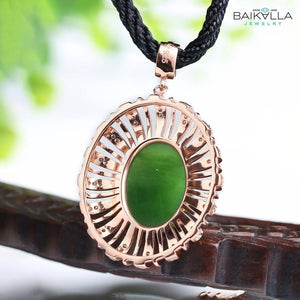Rose Gold Plated Sterling Silver Genuine Nephrite Green Jade Pendant